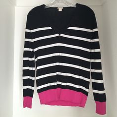 Navy J Crew Striped Sweater Size XS Navy, white and pink J Crew sweater size XS. Very good condition, soft comfortable material. J. Crew Sweaters