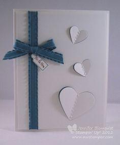 Northwest Stamper » Jennifer Blomquist, Stampin' Up! Demonstrator » Fluttering Hearts Wedding Card with Framelits
