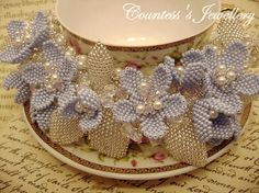 Blue flower necklace beaded flowers seed bead necklace