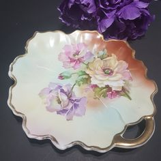 Antique China, Vintage China, Bubble Paper, Gilded Edge, Color Scale, Gold Gilding, Serving Plates, Leaf Shapes, White Roses