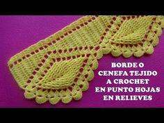 (143) Borde o Cenefa Hojas en Relieves tejido a crochet para Colchas y Cobijas paso a paso - YouTube