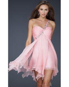 2012 tencel een schouder geplooid appliques a-lijn cocktail jurk