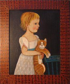 Girl with orange cat   American Folk Art Painting - Diane Ulmer Pedersen