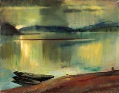 """werk1975: """"Boats, Sunset - István Szönyi,1930. Hungarian 1894 -1960 Oil on…"""