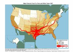 Flow map  showing tons moving by truck and the number of trucks carrying that tonnage within Texas and between Texas and other states in 2007.     Maps for other states also available.