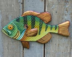 Hand Painted on Wood with Hammered Copper Fins - Great for Farmhouse or Lake House Decor Folk Art Fish, Fish Wall Art, Fish Art, Dot Painting, Painting On Wood, Painted Fish, Hand Painted, Painted Rocks, Metal Fish