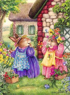 Vintage illustration by susan wheeler pieces) Susan Wheeler, Beatrix Potter, Lapin Art, Dibujos Cute, Bunny Art, Pics Art, Children's Book Illustration, Whimsical Art, Cute Art