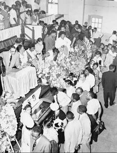 Emmett Till Funeral. One of the saddest and most shameful moments in American history! One can only imagine the grief of his mother.