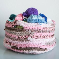 Pink and Brown Crochet Storage Fabric Basket on Etsy, $35.00