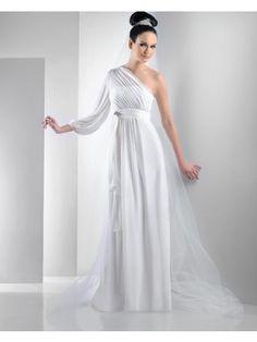 Didobridal.com: Sheath One-shoulder Floor-length Chiffon Bridesmaid Dress with Blousant Sleeve