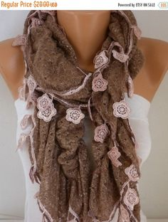 Milky Brown Ruffle Knitted Scarf Fall Winter Lace by fatwoman