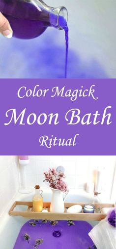 Color Magick Moon Bath Ritual - Moody Moons Check out this Color Magick Moon Bath Ritual and shake up your Esbat with this inspiring way to put the power of color to work in your Craft. New Moon Rituals, Full Moon Ritual, Spiritual Bath, Spiritual Cleansing, Wiccan Spells, Easy Spells, Healing Spells, Moon Witch, Under Your Spell