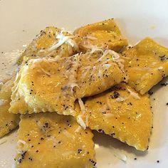 #Tortelli di zucca con crema al #FormaggiodiFossa #DOP - Instagram by trattoriapetitoforli