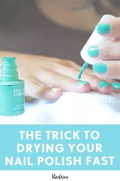 The One Trick to Drying Your Nail Polish Insanely Fast Der einzige Tric Dry Nails Fast, Boar Bristle Brush, Nail Polish Tricks, Nail Tips, Nail Ideas, Nail Hacks, Polish Nails, Beauty Kit, Beauty Products