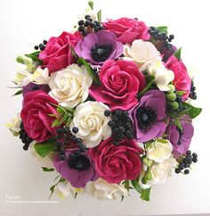 Купить Букет с черной бузиной - фуксия, черный, цветы, букет, композиция из цветов