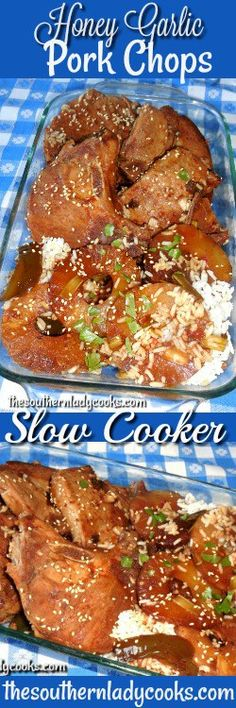 Honey garlic pork chops in the crock pot or slow cooker is an easy recipe and so good. Serve these honey garlic pork chops with the sauce over rice, noodles or even mashed potatoes for … Pork Chop Recipes, Meat Recipes, Crockpot Recipes, Cooking Recipes, Casserole Recipes, Free Recipes, Dinner Recipes, Honey Garlic Pork Chops, Pork