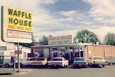 Very first Waffle House in Decatur Ga 1965.  The very first Waffle House located in Decatur (Avondale Estates). Interesting note about this photo, the sign under the Waffle House sign. Yep, Chic-Fil-A sandwiches were served a Waffle House to help out with marketing for Truett Cathy.