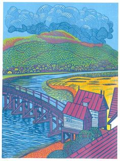 Penmaenpool Bridge an original print by Eric Gaskell