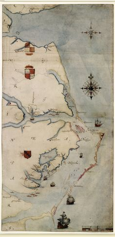 """Roanoke Mystery Revealed? """"La Virginea Pars"""", a map of the east coast of North America (c. 1585-87) produced by the Elizabethan artist and gentleman, John White (P 1906,0509.1.3, c. British Museum,) (Trustees of the British Museum) ~ Roanoke Mystery Revealed?"""