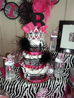 Super Cute Zebra Baby Shower Diaper Cake!