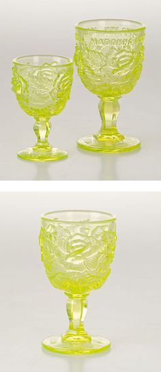"""Exclusive to the Madonna Inn, these jewel-toned goblets come in almost every color imaginable and are widely popular. Alex Madonna personally designed our glass mold to go with the pink floral patterned carpet in Alex Madonna's Gold Rush Steak House and """"My Favorite Things"""" Boutique. Great for a wedding, anniversary, birthday, or collector's gift, these goblets are a real treasure. Customers come back again and again to add these to their home collection.    Dishwasher safe, our Vaseline…"""