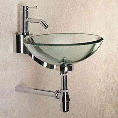 bathoom bowl glass sink with chrome trim for small bathroom Glass Bowl Sink, Glass Bathroom Sink, Modern Bathroom Sink, Modern Sink, Glass Vessel Sinks, Sink Faucets, Bathroom Ideas, Gothic Home, Handmade Home
