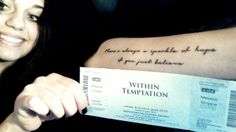 """#WTworldtour Hi! I'm coming to see you at 8th March in Poznań! I just can't wait! Yesterday I made my first tattoo and this is a quote from """"Deceiver of fools"""" - my fav and first song. Love you guys! ♥"""
