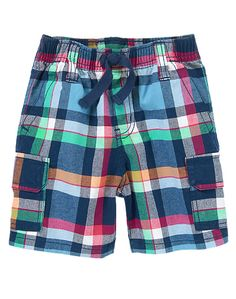 Plaid Cargo Shorts at Gymboree Cute Outfits For Kids, Toddler Outfits, Baby Boy Outfits, Sewing Kids Clothes, Sewing For Kids, Cute Toddlers, Cute Kids, Shorts E Blusas, Short Niña