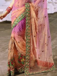 Peach pink net bridal Saree