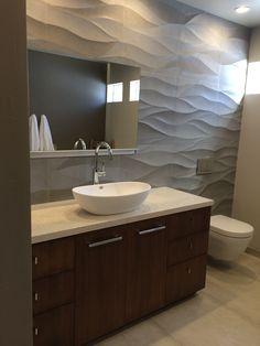 Modern bathroom for teenage boy, wave stone tile, #dornbracht fixtures,  villeroy and botch toilet with wall mount flusher.  Arcturus Studio Interior Design.