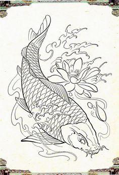 Japanese Koi Fish Tattoo, Tattoo Japanese Style, Koi Fish Drawing, Fish Drawings, Koi Tattoo Design, Japan Tattoo Design, Koi Tattoo Sleeve, Koi Art, Pochette Album