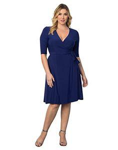 Kiyonna Womens Plus Size Essential Wrap Dress 4X Cobalt Blue * Click image for more details. (This is an affiliate link) Plus Size Wedding Dresses With Sleeves, Cocktail Dresses With Sleeves, Modest Dresses, Simple Dresses, Casual Dresses For Women, Plus Size Dresses, Plus Size Outfits, Dresses For Work, Bride Dresses