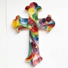 """Arte de papel tubulares: """"Cruz"""" - arte hecho a mano - arte de la pared de papel - decoración para el hogar - cuadros - decoración - arte enclavijada"""