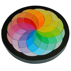 Rainbow Color Wheel Waldorf  Toy Creative Puzzle Mosaic Puzzle   Children's Wooden Puzzle