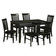 East West Furniture DUWE7-BLK-W 7 Piece Small Kitchen Table and 6 Dining Chairs Set