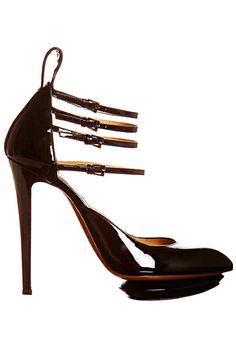 Nicholas Kirkwood Dark Brown Patent Multi Strap Sandal Fall Winter 2012 #Shoes #Heels