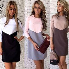 Kaywide 2016 mujeres winter dress fashion series lindo nuevo estilo three cuartos remiendo de la manga midi dress for women a16337