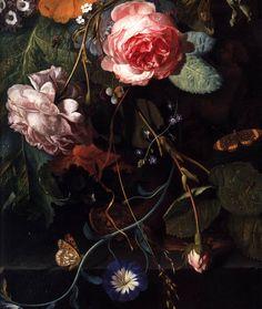 Jan van HUYSUM, Bouquet of Flowers (detail) Dutch painter (b. 1682, Amsterdam, d. 1749, Amsterdam)    Bouquet of Flowers (detail)