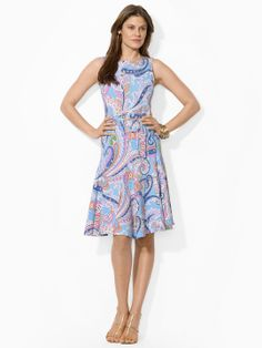 Paisley Boatneck Dress - Mid Length Dresses Dresses - Ralph Lauren UK