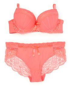 Look at this #zulilyfind! Pink Lace Plunge Bra & Bikini #zulilyfinds
