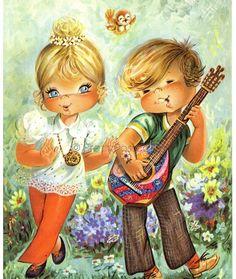 Postcard Vintage of a Big Eyed Girl and Boy von PrettyPostcards auf Etsy