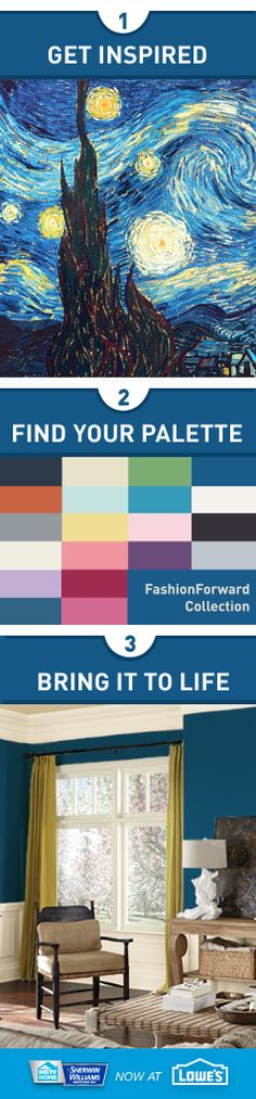 "Find inspiration for your perfect color palette in your favorite painting. The ""Fashion Forward"" collection from HGTV HOME™ by Sherwin-Williams takes its cue from the starry night sky. Bring room-to-room harmony to your home as you choose from 20 color samples in each collection that work together in any combination."