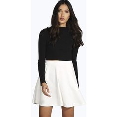 Boohoo Mia Ribbed Pocket Front Skater Skirt ($16) ❤ liked on Polyvore featuring skirts, ivory, midi skirt, pleated skirt, flared maxi skirt, maxi skirt and knee length pleated skirt