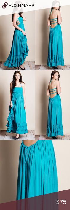 "Backless Teal Maxi Dress Backless teal maxi dress. Runs true to size. This is an ACTUAL PIC of the item - all photography done personally by me. Model measurements 5'8"" 33""-24""-35"". Model is wearing the size small. NO TRADES DO NOT ASK. Price is FIRM. Bare Anthology Dresses Maxi"