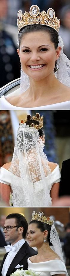 Wedding of Crown Princess Victoria and Daniel Westling June 19th 2010  Victoria wearing the cameo tiara