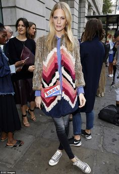 Stripes as nice! Poppy Delevingne kept things casual as she arrived at the OSMAN show at London's Victoria House on Tuesday