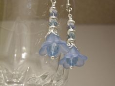 Faerie Earrings, silver plated, lucite flower, blue, filigree, french earwire, swarovski crystal, fantasy