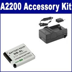 Canon Powershot A2200 Digital Camera Accessory Kit includes: SDNB8L Battery, SDM-1517 Charger by Synergy. $17.94. Canon Powershot A2200 Digital Camera Accessory Kit includes the following items: 1) NB8L Rechargeable Battery - Ultra High Capacity (1000mAh 3.7V) Replacement For The Canon NB8L Lithium-Ion Rechargeable Battery 2) Rapid Battery Charger for Canon NB-8L Battery - With Fold-In Wall Plug, Car & EU Adapters