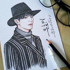 Grim Reaper 🎩 #kdrama #leedongwook #grimreaper #wangyeo #euntak #kimshin #tvn #goblin #sketching #artwork #art #fanart #dongwook #gongyoo #pencil #goblinkdrama #drawing #kdramas #koreandrama #sketchoftheday #illustration #artzyra Grim Reaper Goblin, Goblin Kdrama, Kpop Drawings, Drawing Quotes, Lee Dong Wook, Gong Yoo, Kpop Fanart, Pattern Art, Korean Drama