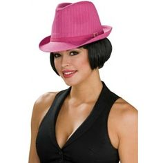 Chapeau Borsalino rose pink femme, Chapeau Borsalino gangster femme Pinstripe Fedora avec bijou strass, années 20-30, fêtes.